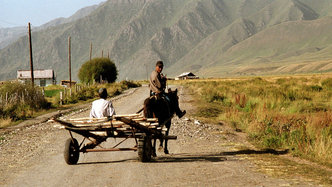 Farmer with horse and cart in Eki Naryn